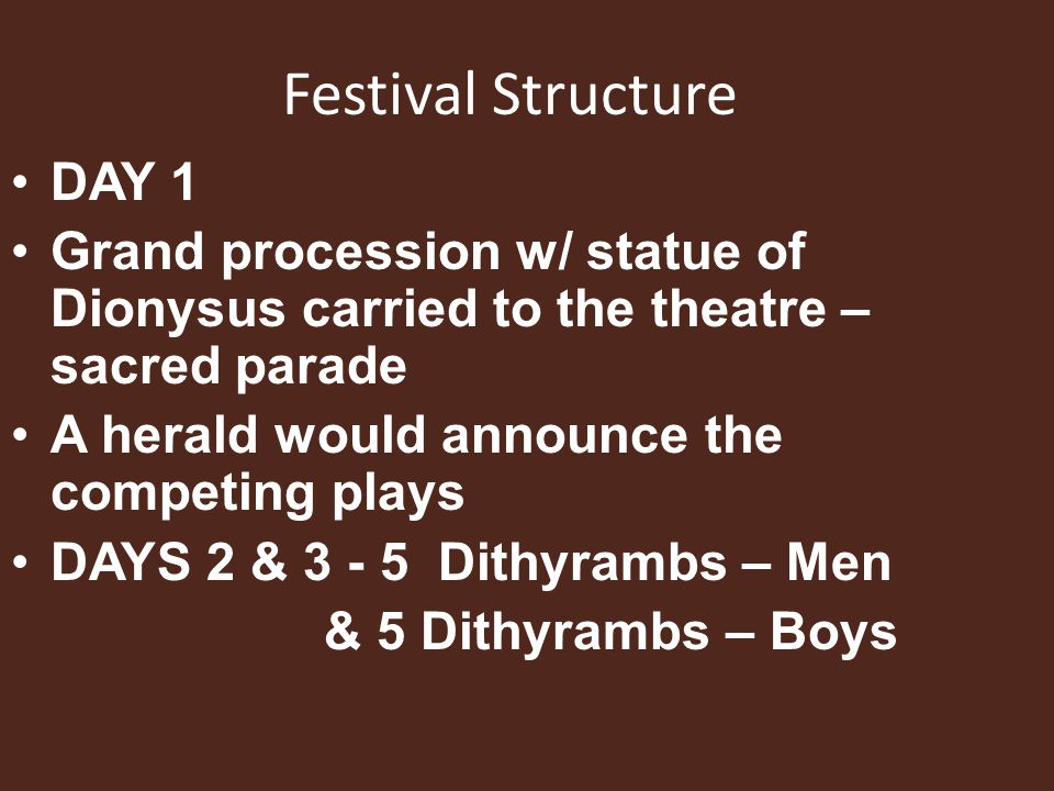 Festival Structure DAY 1