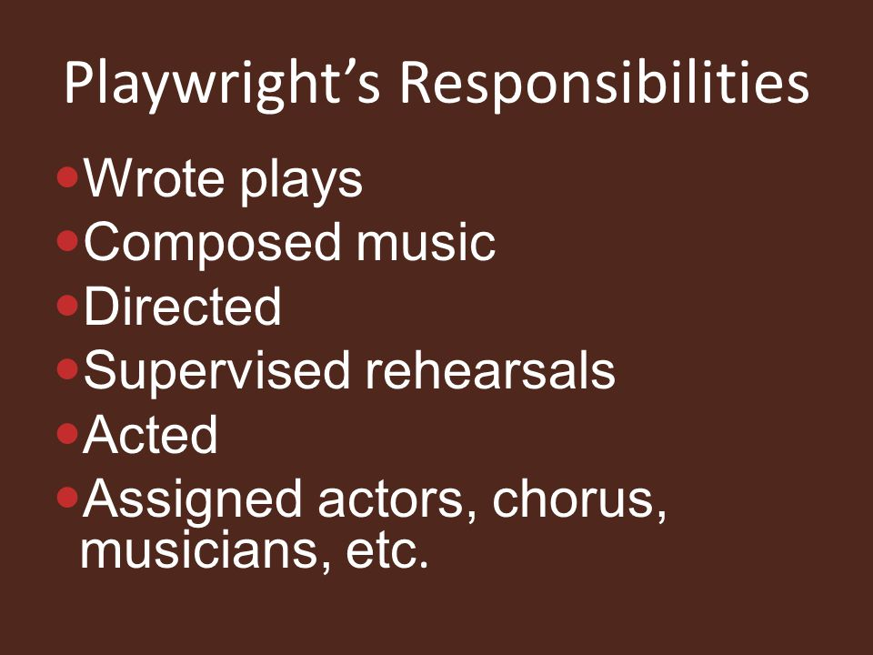 Playwright's Responsibilities