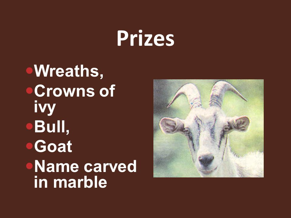 Prizes Wreaths, Crowns of ivy Bull, Goat Name carved in marble