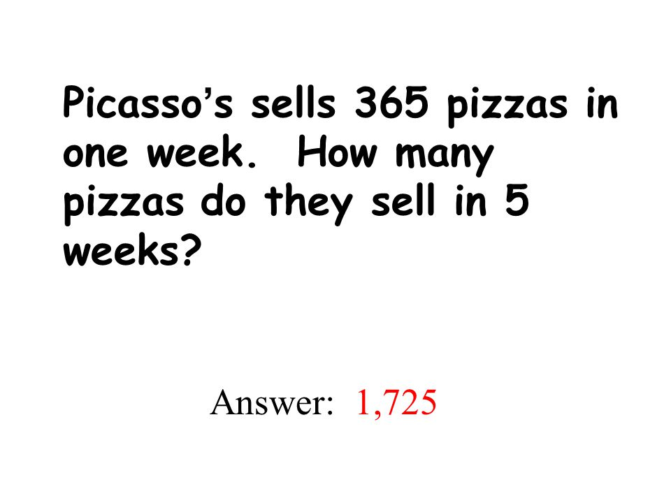 Picasso's sells 365 pizzas in one week