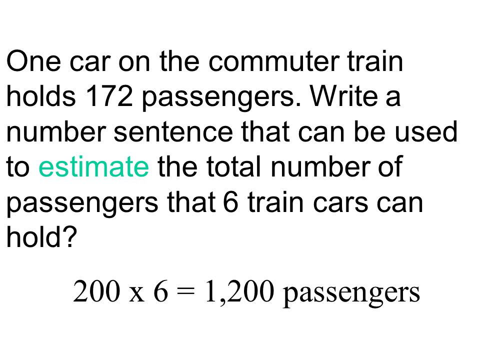 One car on the commuter train holds 172 passengers