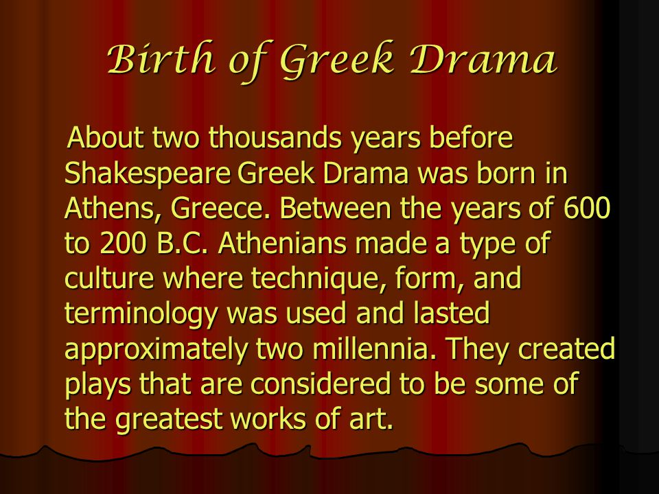 Birth of Greek Drama