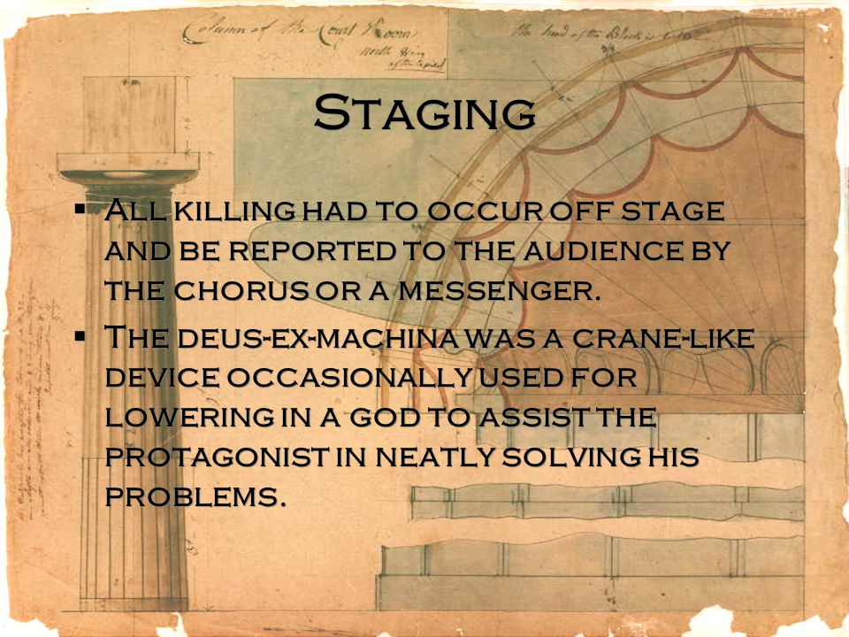 Staging All killing had to occur off stage and be reported to the audience by the chorus or a messenger.