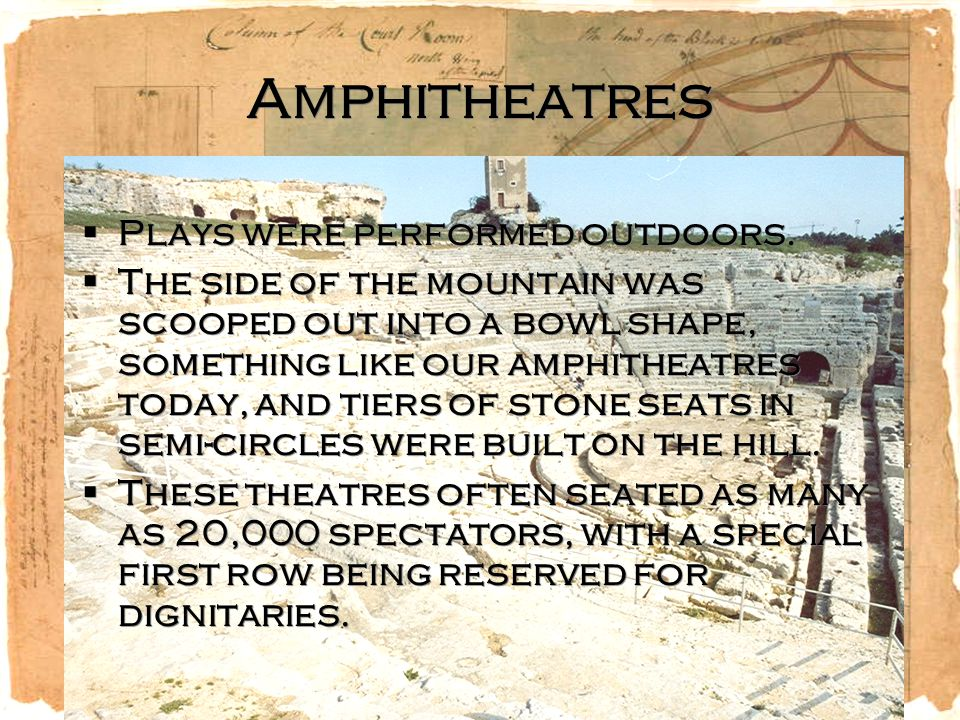 Amphitheatres Plays were performed outdoors.