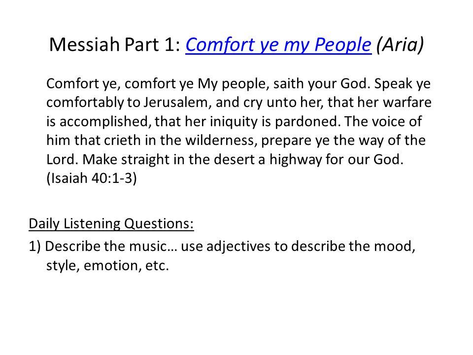 Messiah Part 1: Comfort ye my People (Aria)