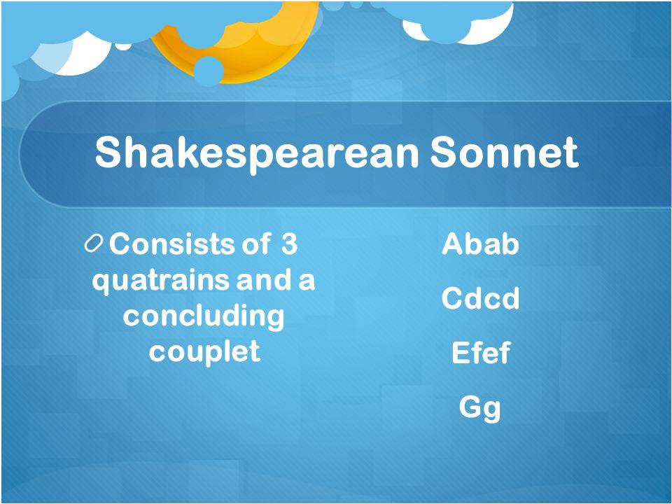Consists of 3 quatrains and a concluding couplet