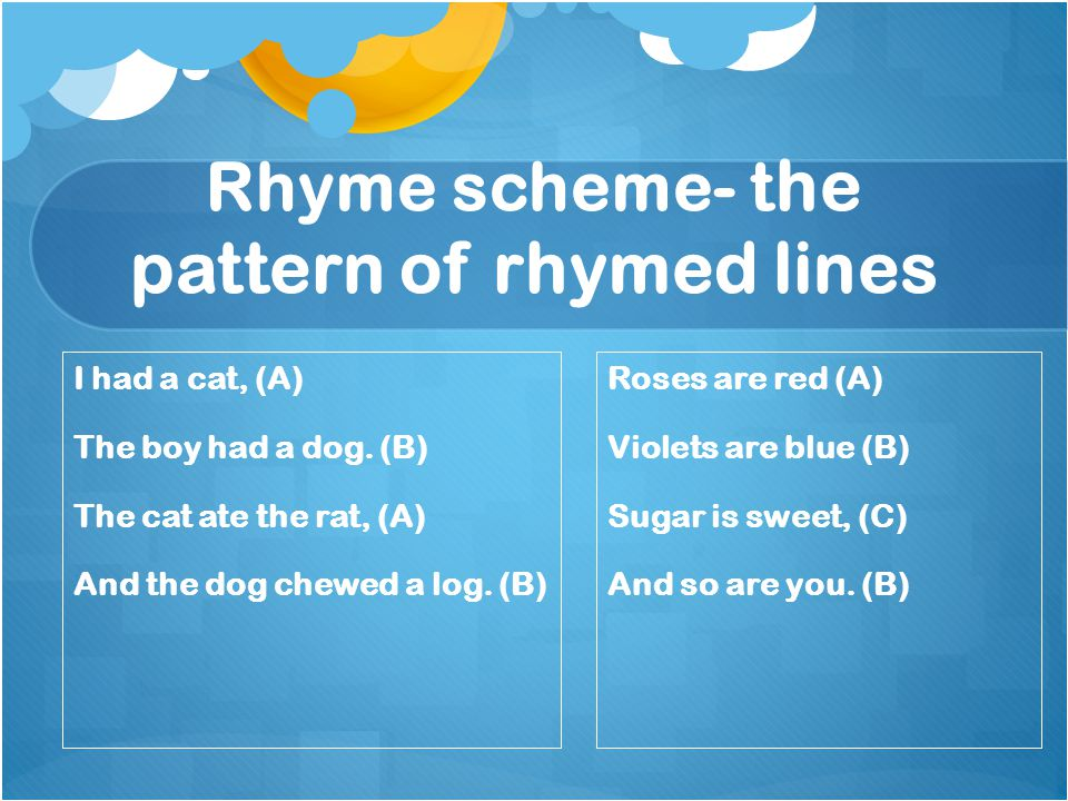 Rhyme scheme- the pattern of rhymed lines