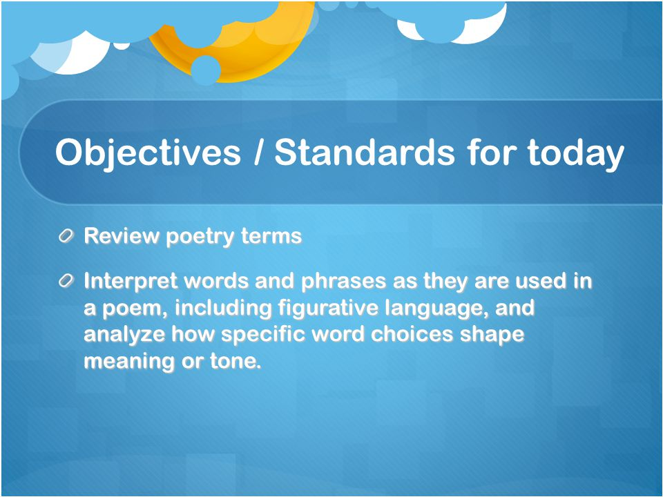 Objectives / Standards for today