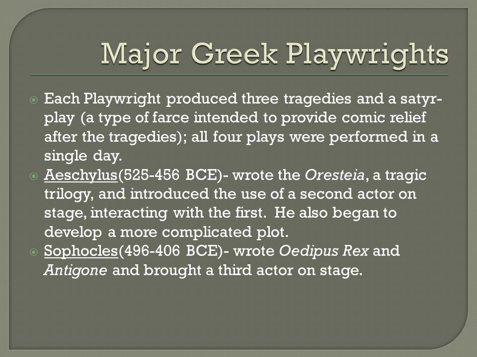 Major Greek Playwrights