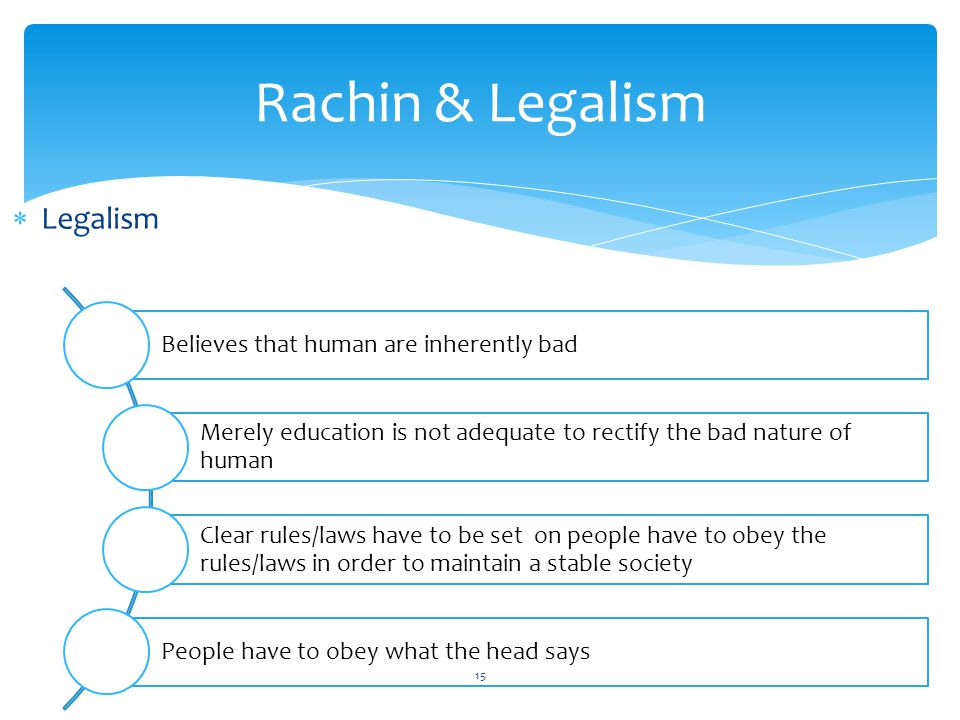Rachin & Legalism Legalism Believes that human are inherently bad