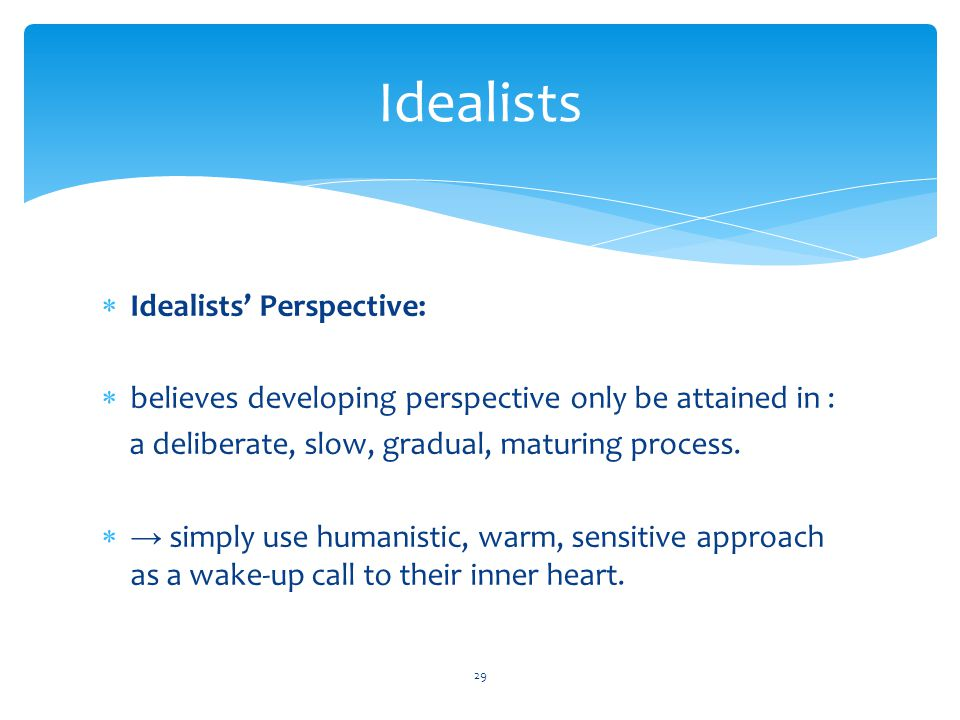 Idealists Idealists' Perspective: