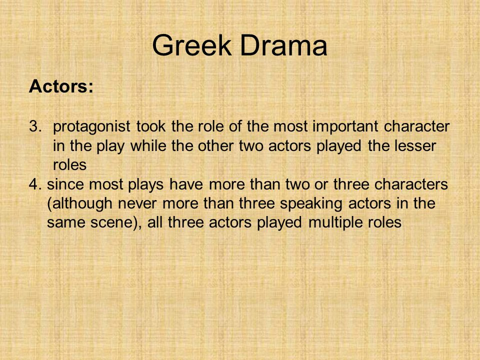 The role of the actors in greek drama