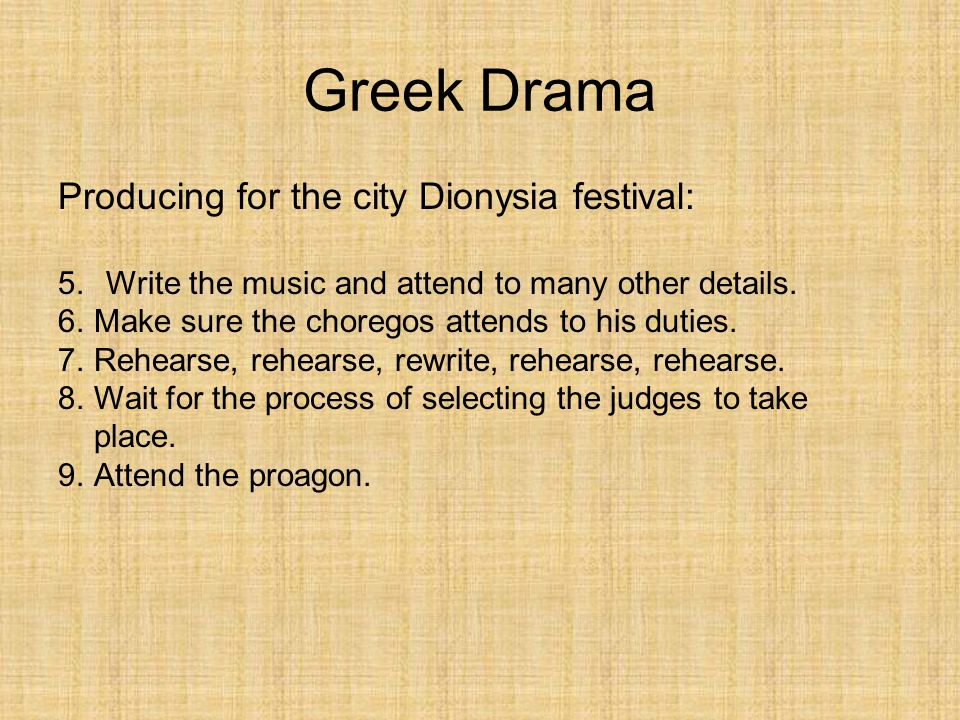 Greek Drama Producing for the city Dionysia festival:
