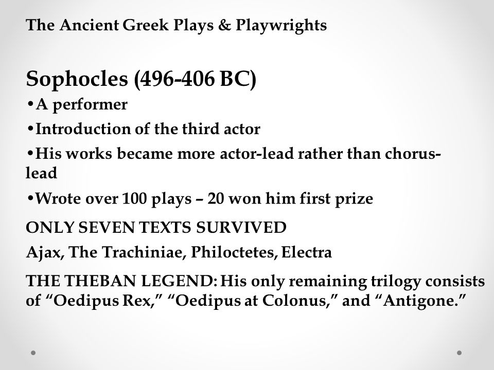 Sophocles (496-406 BC) The Ancient Greek Plays & Playwrights