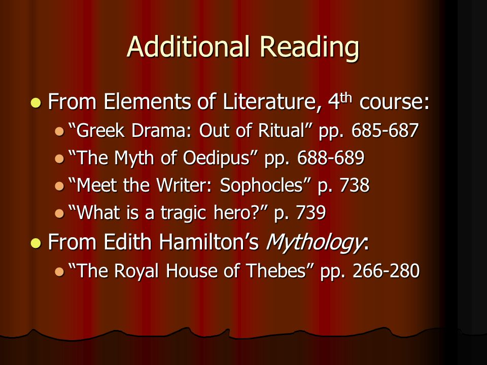 Additional Reading From Elements of Literature, 4th course: