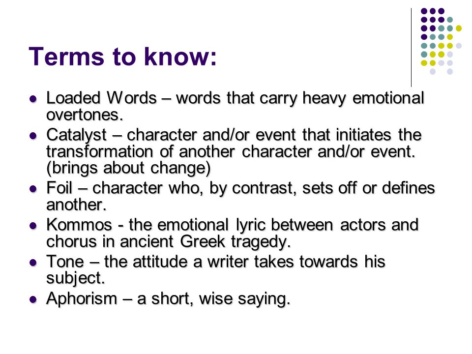 Terms to know: Loaded Words – words that carry heavy emotional overtones.