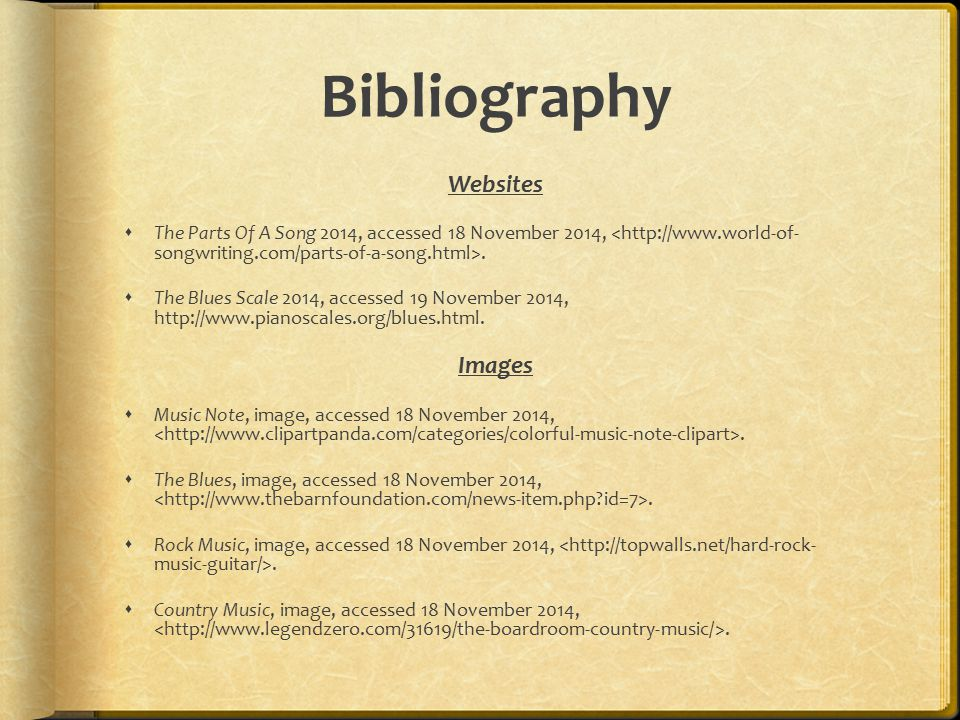 Bibliography Websites Images