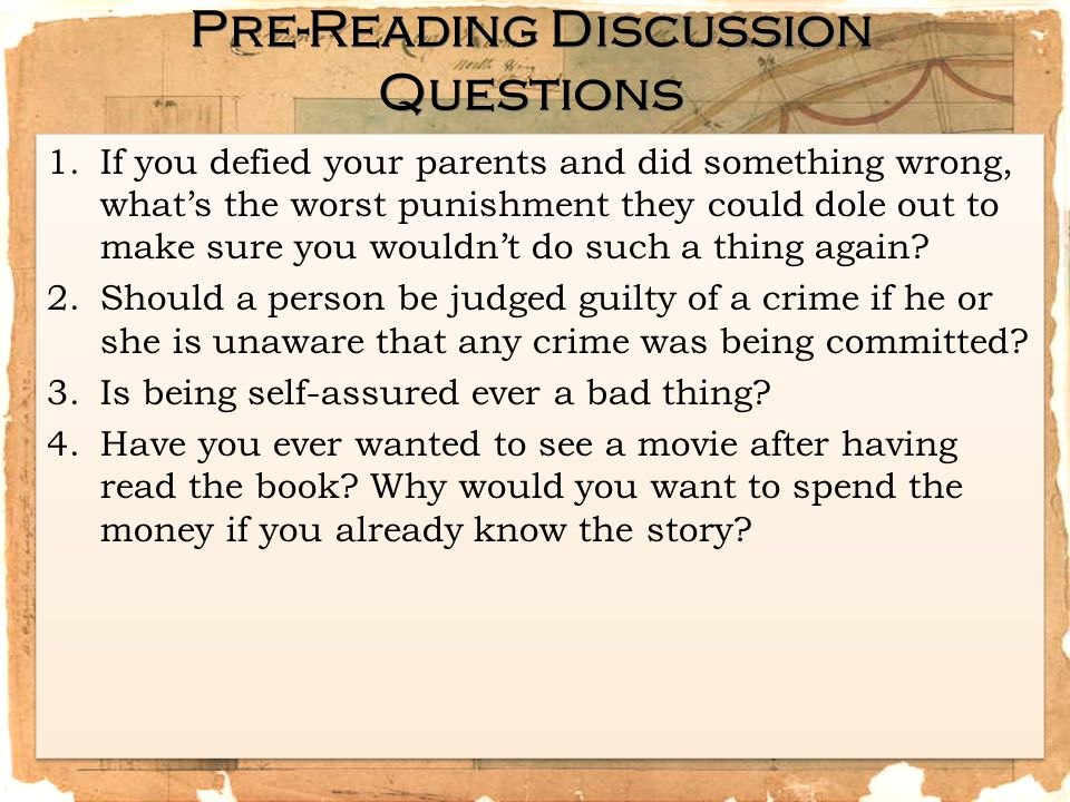 Pre-Reading Discussion Questions