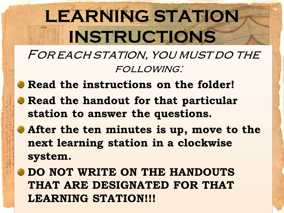 LEARNING STATION INSTRUCTIONS