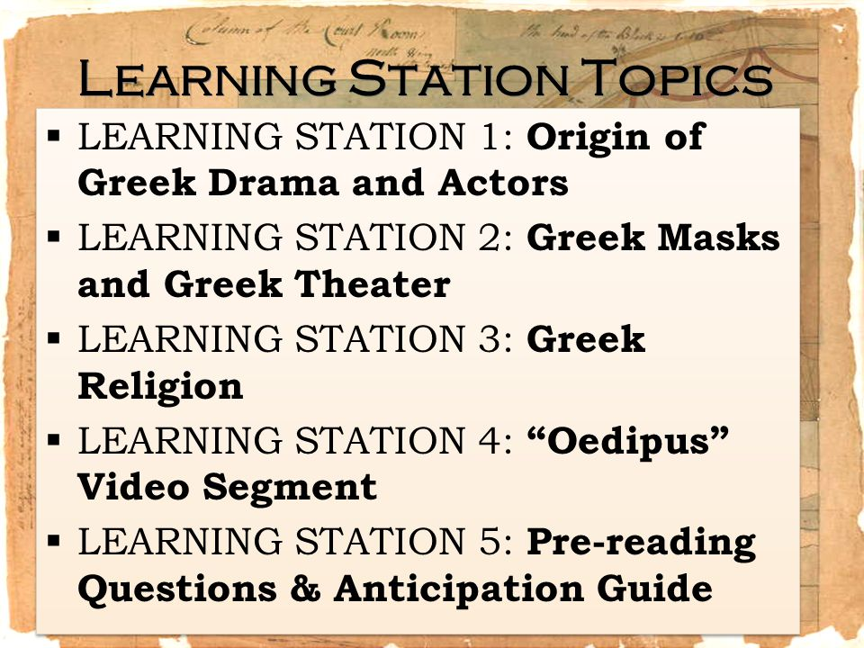 Learning Station Topics