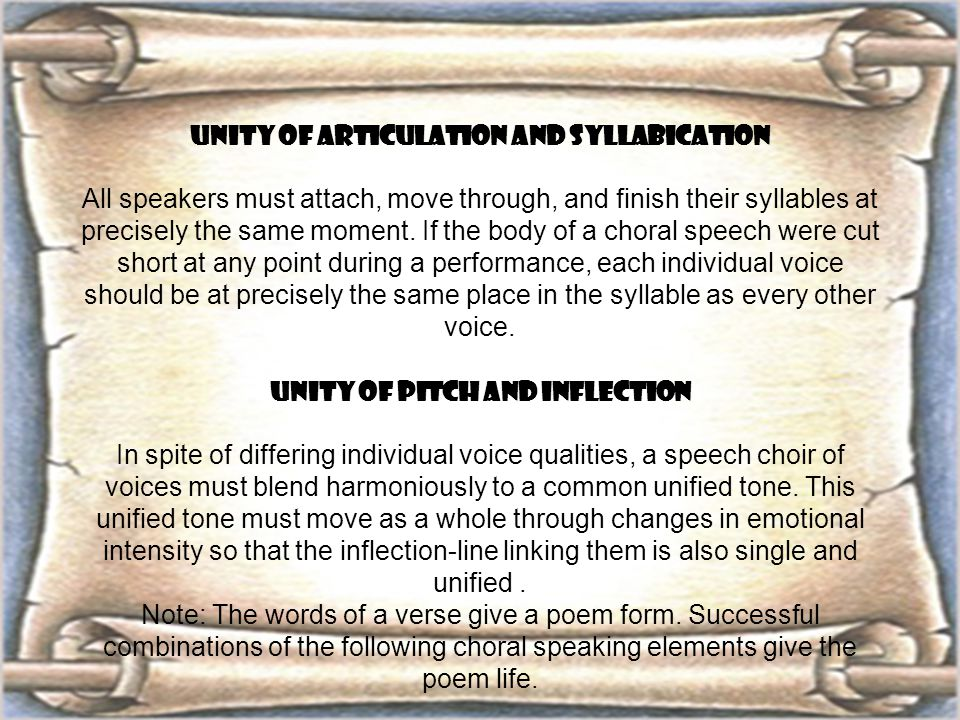 UNITY OF ARTICULATION AND SYLLABICATION UNITY OF PITCH AND INFLECTION