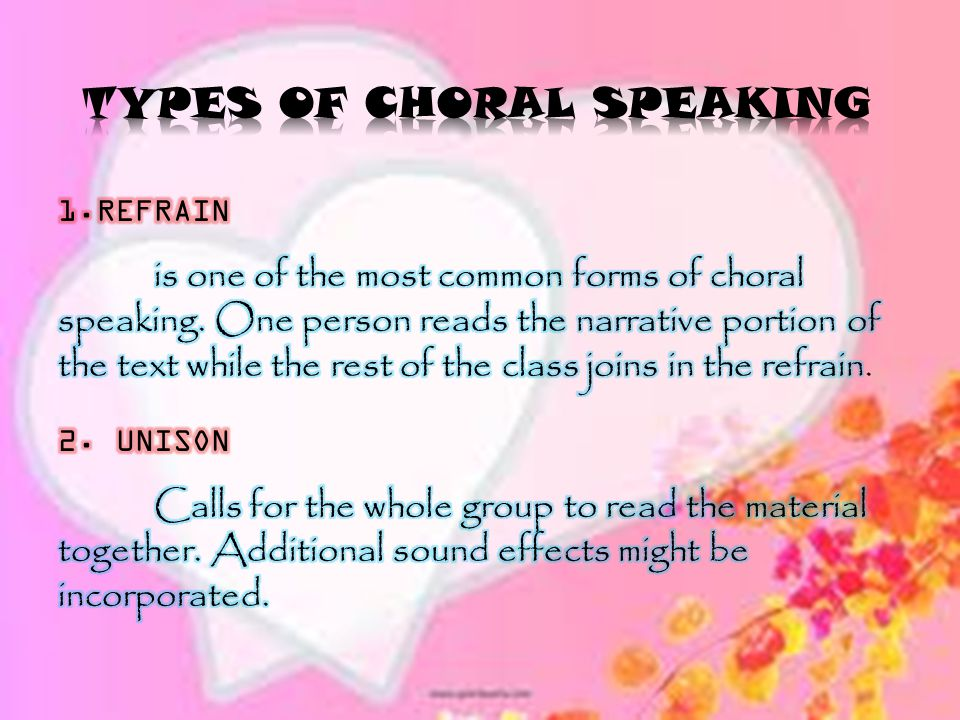 TYPES OF CHORAL SPEAKING