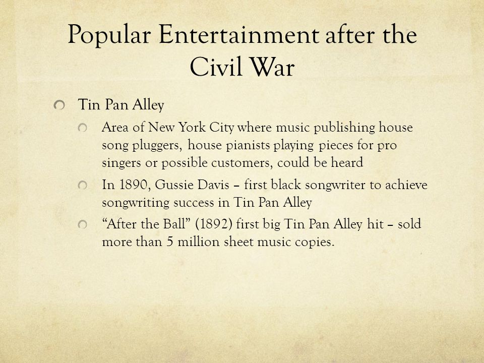 Popular Entertainment after the Civil War