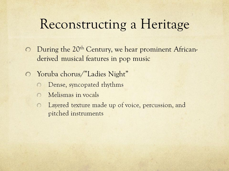 Reconstructing a Heritage