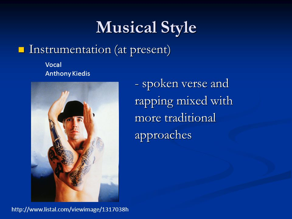 Musical Style Instrumentation (at present) - spoken verse and