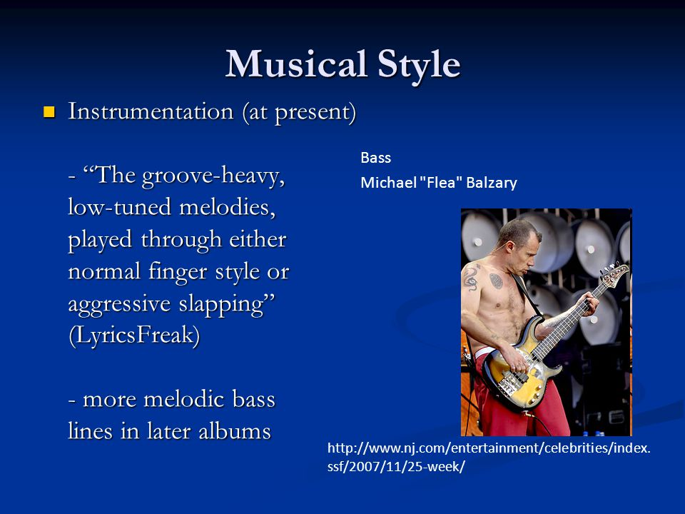 Musical Style Instrumentation (at present) - The groove-heavy,
