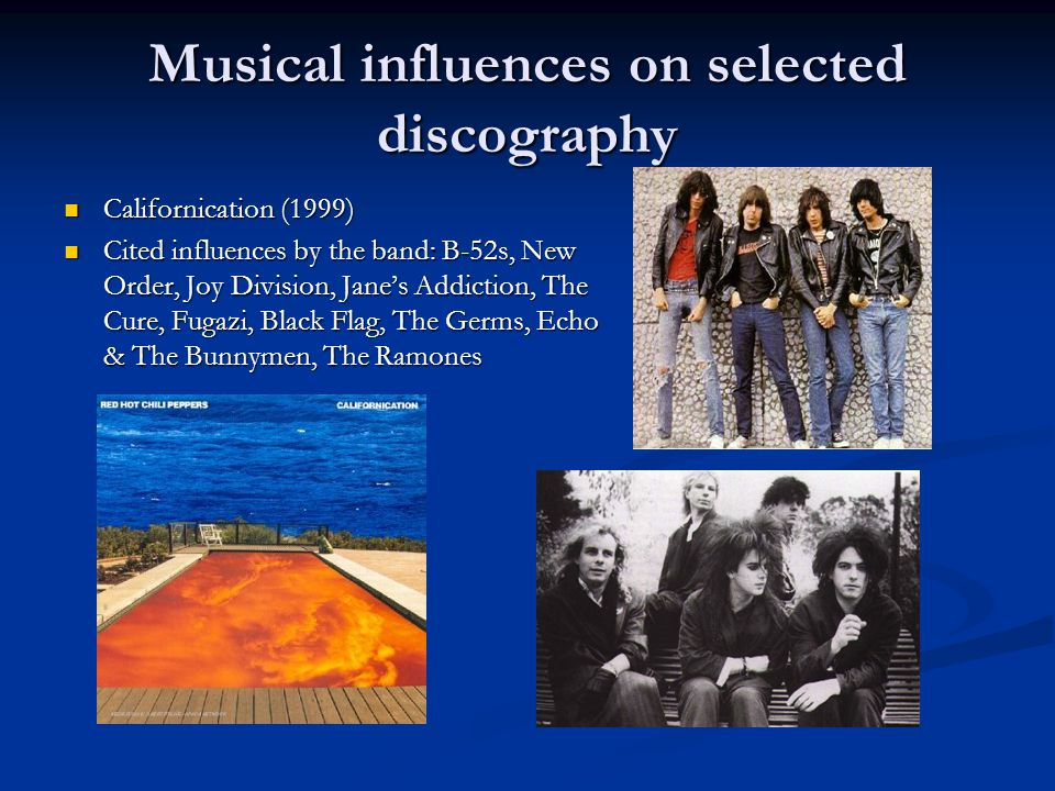 Musical influences on selected discography