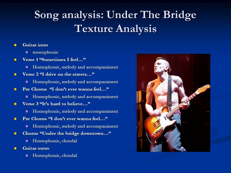 Song analysis: Under The Bridge Texture Analysis