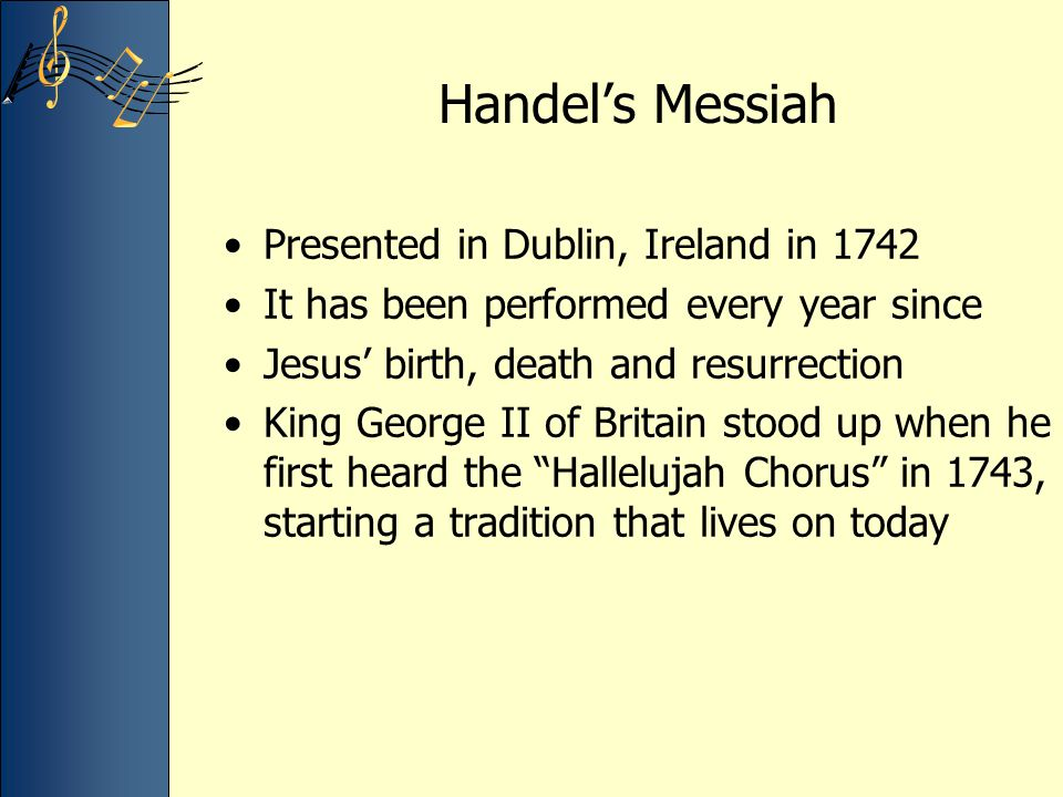 Handel's Messiah Presented in Dublin, Ireland in 1742