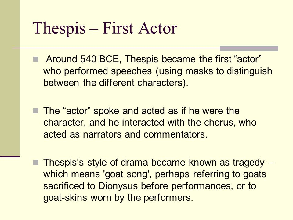 Thespis – First Actor