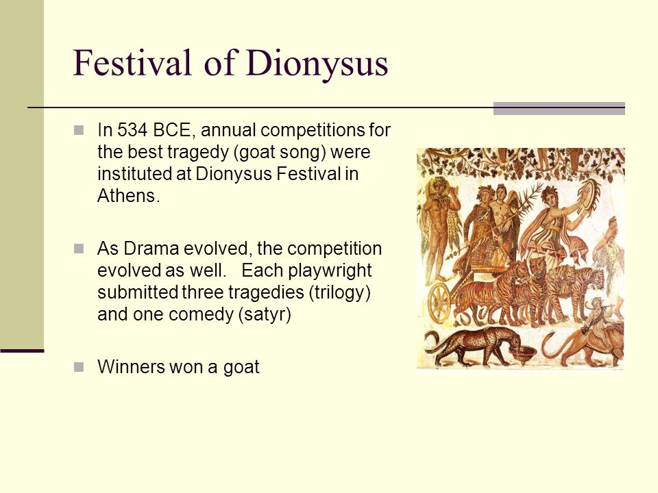 Festival of Dionysus In 534 BCE, annual competitions for the best tragedy (goat song) were instituted at Dionysus Festival in Athens.