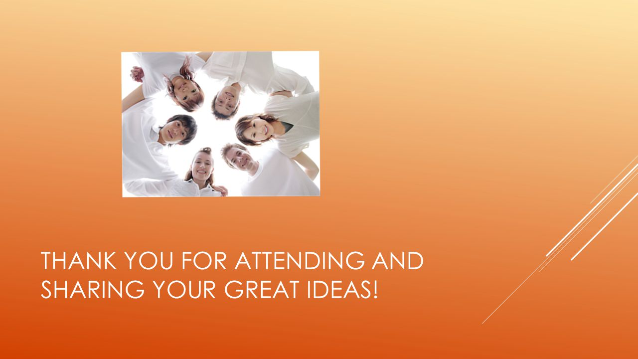 Thank you for attending and sharing your great ideas!
