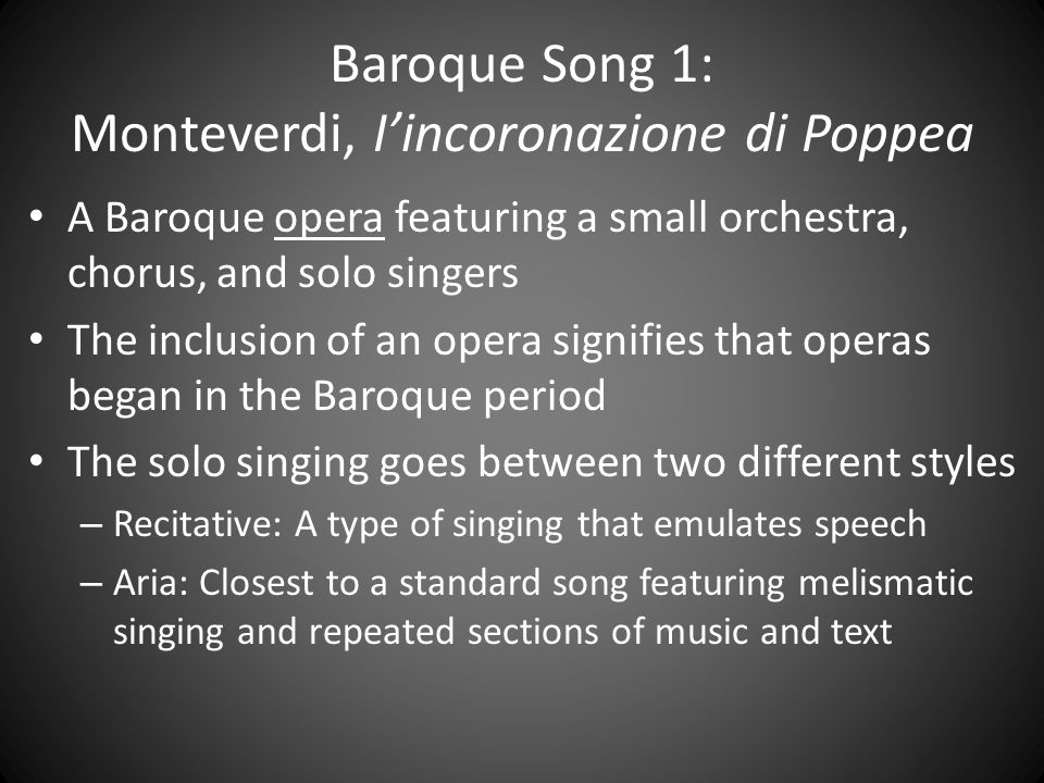 Baroque Song 1: Monteverdi, I'incoronazione di Poppea