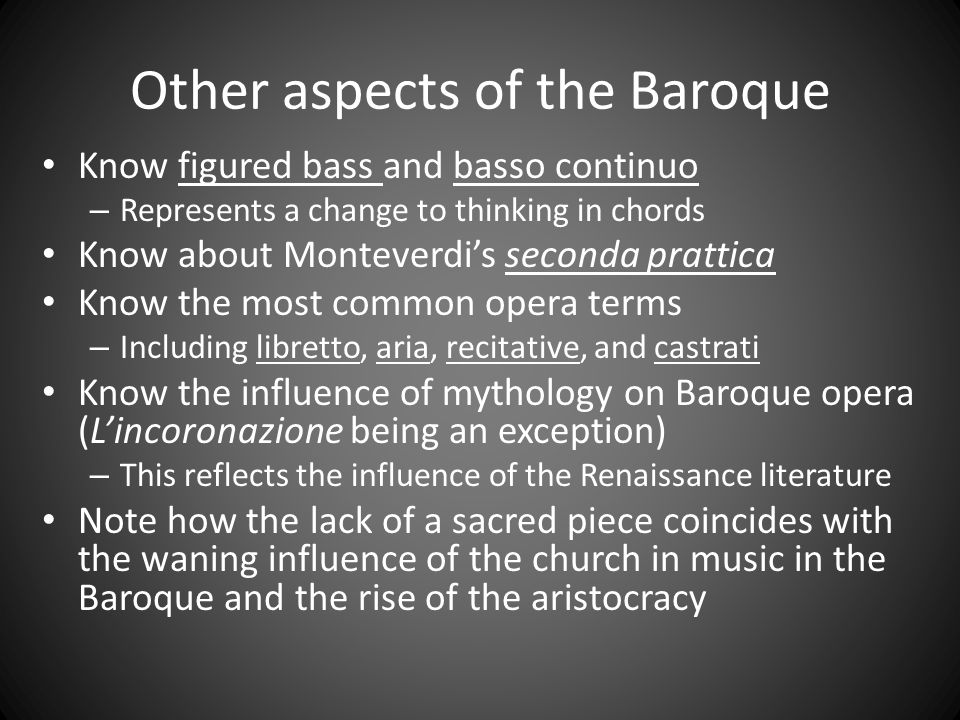Other aspects of the Baroque
