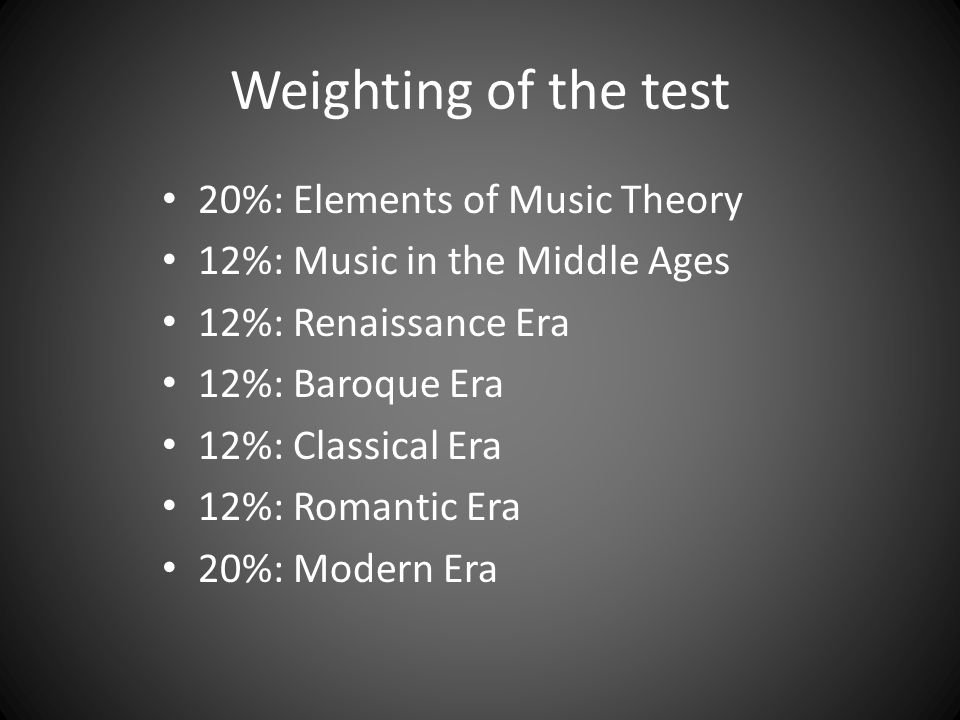Weighting of the test 20%: Elements of Music Theory