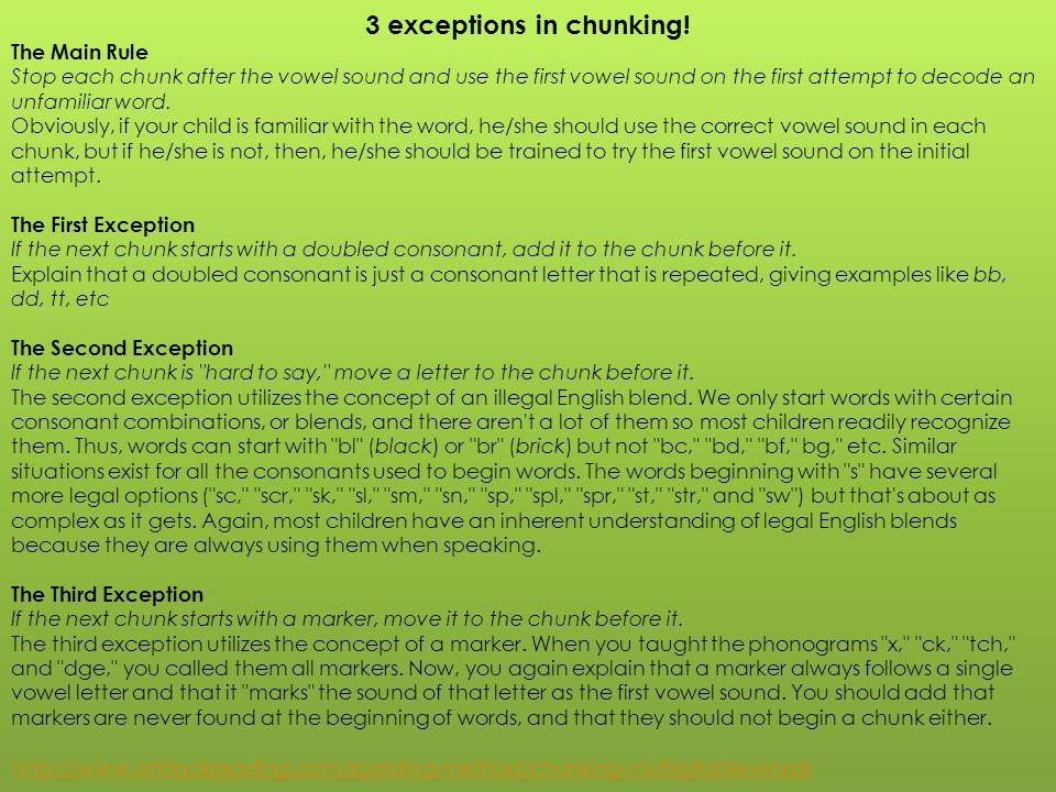 3 exceptions in chunking!