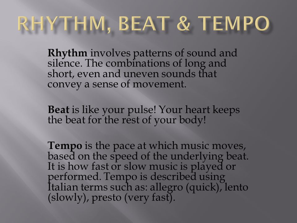 Rhythm, BEAT & tempo