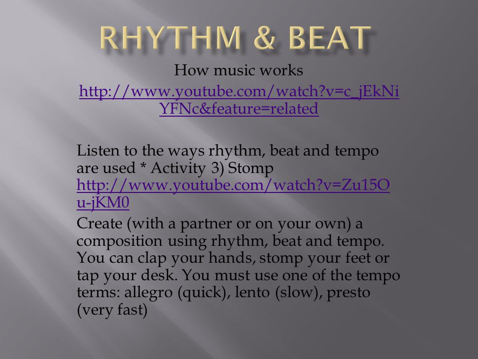 Rhythm & Beat How music works