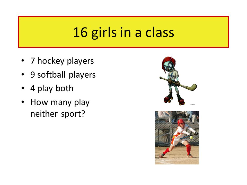 16 girls in a class 7 hockey players 9 softball players 4 play both