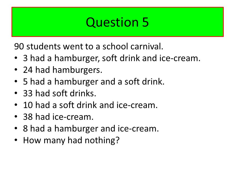 Question 5 90 students went to a school carnival.