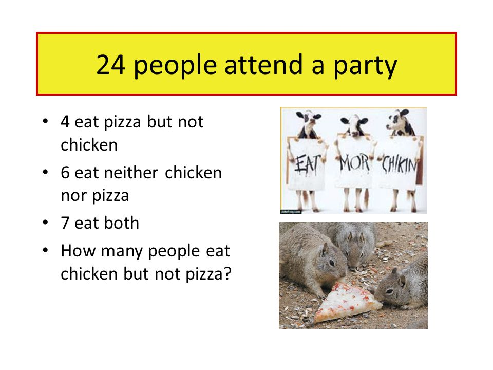 24 people attend a party 4 eat pizza but not chicken