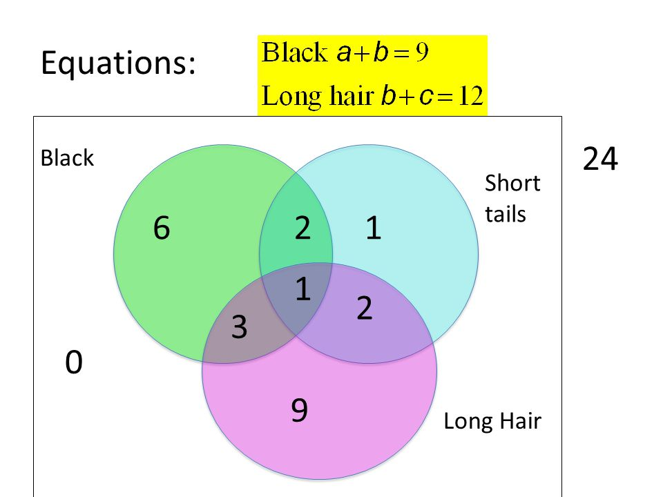 Equations: 24 Black Short tails 6 2 1 1 2 3 9 Long Hair