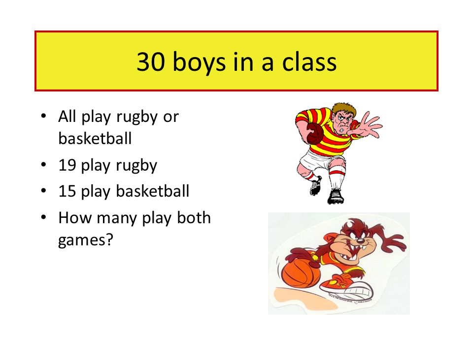 30 boys in a class All play rugby or basketball 19 play rugby