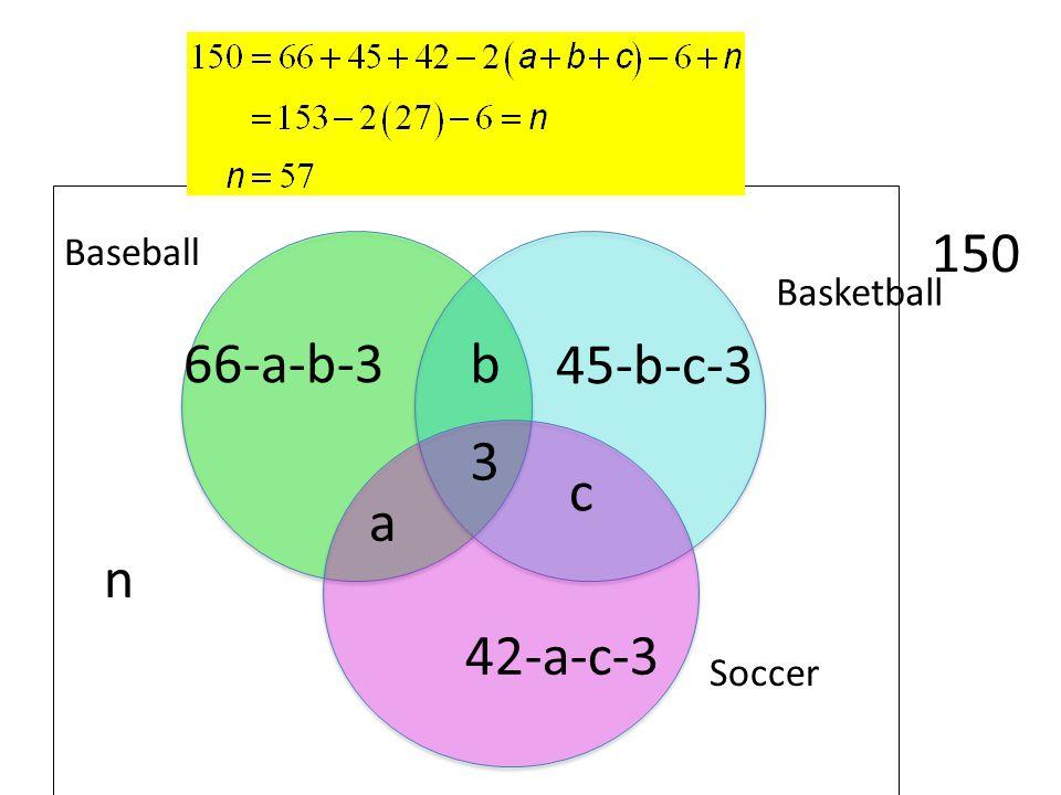 n 150 Baseball Basketball 66-a-b-3 b 45-b-c-3 3 c a 42-a-c-3 Soccer