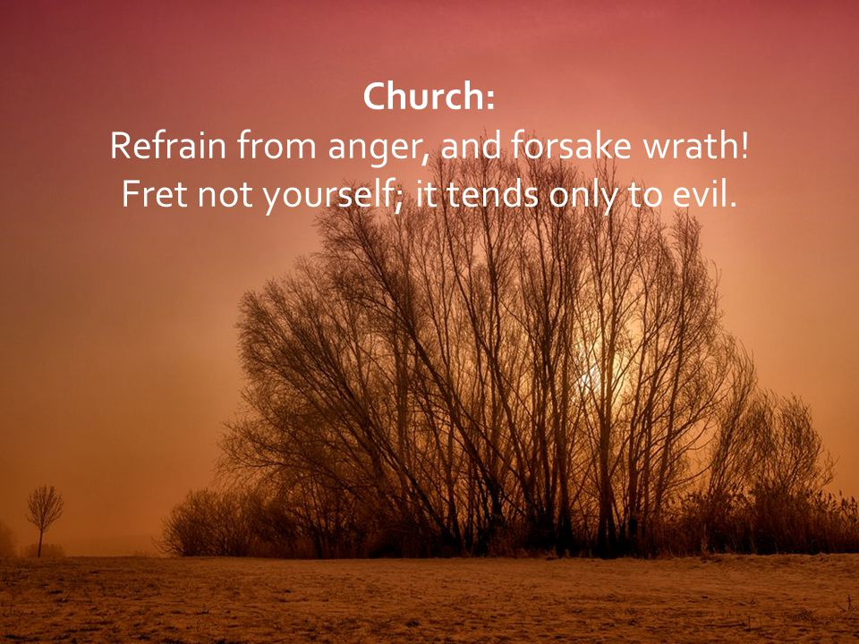 Refrain from anger, and forsake wrath!