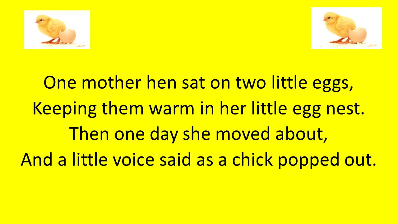 One mother hen sat on two little eggs,